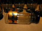 Vtg. Set of 6-Smokey Glass High Ball Tumblers Gold Band Black Leaves/Flower