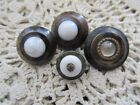 ANTIQUE LOT OF 4 DARK BUTTONS WITH WHITE/CLEAR GLASS CENTERS