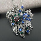White Gold Plated Blue Green Crystal Flower Leaf Pendant Long Necklace Brooch
