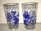 VTG 60s Juice Glass CLEAR PAINT Blue Bear Swanky Swigs Kraft Cheese Jar 2 pc lot