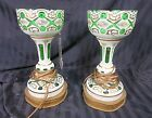 Pair of Antique Czech Bohemian Style White and Green Glass Table Lamps