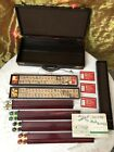 Antique Chinese MahJongg Set in Case Bamboo Tiles + Counters Nice Case MAH JONG