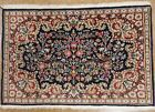 TREE OF LIFE BIRDS Hand Knotted Wool NAVY Persian Kermann Oriental Rug 2 x 3