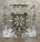 VINTAGE HEAVY CUT GLASS CRYSTAL CANDY DISH OR ASHTRAY WITH SILVER BASE