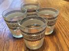 4 Jeannette 1960 Drink Glasses with Blue Greek Key and Roman Chariots Horse