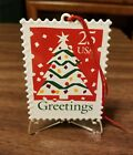 HALLMARK CHRISTMAS TREE U.S. STAMP ORNAMENT + DISPLAY STAND - GREAT CONDITION