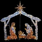 Christmas Outdoor Yard Decor Nativity Scene Set Pre lit w 250 Clear Lights 72