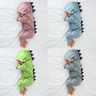 Newborn Infant Baby Boy Girl Dinosaur Hooded Romper Jumpsuit Clothes Outfit 2018
