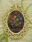 Vintage Oval Convex Bubble Glass Floral Picture Ornate White Metal Frame ITALY