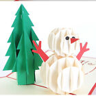 Xmas 3D Pop Up Snowman Greeting Card Christmas Tree Holiday Gift Decor