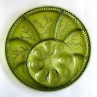 Vintage Indiana Glass Deviled Egg Serving Platter Relish Dish Tree Pattern Green