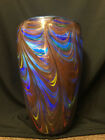 Art glass Vase gold brown blue yellow THICK