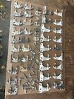 Vintage House Shutter Hinges Old White Chippy Paint Large Lot.  Free Shipping.