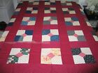 Primitive Antique BOW TIE Quilt Top/ Vintage Antique early 1900s Hand Pieced