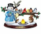 Thomas Kinkade Snowman and Songbird Sculpture Lights Up with Music and Bird