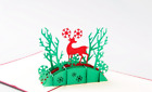 3D Pop Up Christmas Cards Deer Holiday Greeting Card Postcard Xmas Invitation C