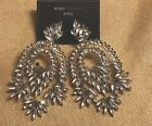 BCBG MAXAZRIA CRYSTAL COMBO FLORAL GLASS STONE CHANDELIER EARRINGS