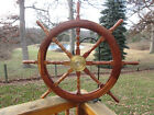VINTAGE SHIPS WOODEN AND BRASS STEERING WHEEL. 41