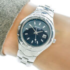 Fossil Womans Watch PR1690 Blue Date Dial 100m Rotating Bezel Working 79304