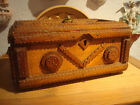 Beautiful German Wooden Tramp Art Box With 3 Lions Heads ... about 1900