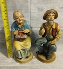 Vintage Antique Porcelain Figures Grandpa And Grandma Rare Country Ceramic Dolls