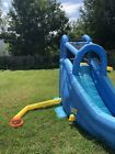 Blow up Pool With Slide Climbing Wall And Basketball Hoop