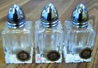 IW RICE  COMPANY CRYSTAL SALT  PEPPER SHAKERS SET OF 3 HANDCUT JAPAN 2 1 2
