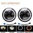 DOT Pair 7 Led Headlight Amber Halo Angle Eye for Jeep Wrangler JK TJ LJ CJ