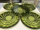 5 Vintage Indiana Glass Whitehall Green Footed Cubist Plates