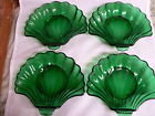 FOREST GREEN SHELL CANDY / DESSERT DISHES-----SET of 4-----ANCHOR HOCKING
