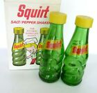 1960s Squirt Swirl Green Glass Salt and Pepper Shakers Mint in Box