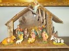 Vintage Antique Musical 1950s NATIVITY CHRISTMAS MANGER Made in ITALY 12 Pieces