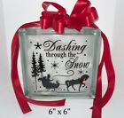 Dashing through the Snow Christmas Decal sticker for 8 glass block shadow box