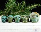 TURQUOISE Skull Stone Carving S M Polished Green Turquoise Crystal E1358