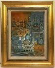 MID CENTURY MODERN Framed Ceramic Wall Sculpture Plaque CITYSCAPE 1967 Signed