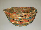 Old antique vtg 1930s Folk Art Grape Vine Basket Bowl Orig Red White Blue Paint