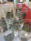 7 Vintage Libbey OWL drinking glasses Tumblers stained glass look 14 Oz.
