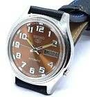 SEIKO 5 AUTOMATIC MEN,S STEEL PLATED BROWN DIAL VINTAGE JAPAN  WATCH RUN ORDER