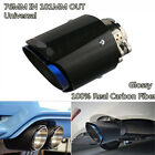 Half Blue Inlet 3 76mm Outlet 4 101mm Carbon Fiber Glossy Exhaust Tips Muffler