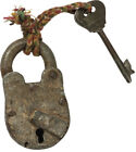 Cast Iron Skeleton Lock and Key #813
