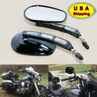 Motorcycle Rear View Mirrors Edge Cut for Harley Touring Sportster 883 Black USA