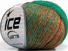 Lot of 8 Skeins ICE SOFT CHAIN WOOL 30 Wool Yarn Brown Shades Emerald Green