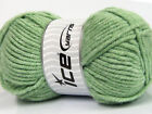 Lot of 4 x 100gr Skeins ICE SOFT TOUCH BULKY Hand Knitting Yarn Mint Green
