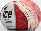 Lot of 8 Skeins ICE SOFT CHAIN WOOL 30 Wool Hand Knitting Yarn Red White