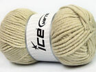 Lot of 4 x 100gr Skeins ICE SOFT TOUCH BULKY Hand Knitting Yarn Light Khaki