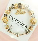Authentic Pandora Bracelet Silver Bangle with Gold Love Valentine European Charm
