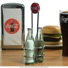 Coca Cola CC339N Salt and Pepper Shaker Set with Chrome Plated Metal Rack