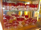 88 Pieces Kings Crown Ruby Thumbprint Glassware Antique !