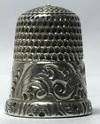 Simons Bros. Sterling Thimble with Feathered Rim, and wide Feathered Band - Sz 7
