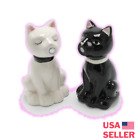 Cat Salt  Pepper Shakers Cute Kitty Stainless Steel Spoons Kitchen Tableware